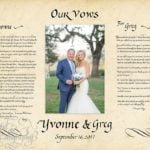Couple's marriage vows written in calligraphy with wedding photo
