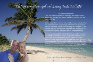 1st Anniversary marriage vows written in calligraphy combined with computer calligraphywith selfie of the couple in Hawaii
