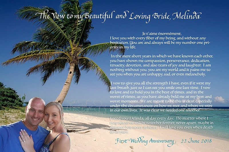 1St Anniversary marriage vows written in calligraphy with selfie of the couple in Hawaii