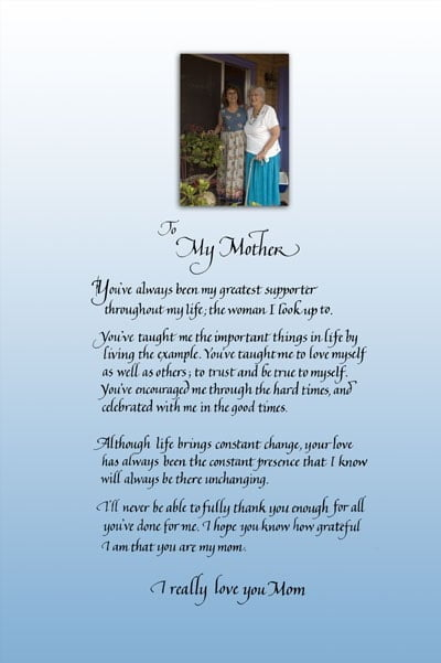 MOthers day poem in calligraphy with personalized photo of my mom and me