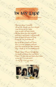 Valentine's Day gift: Beatles Love Song Lyrics, In My Life