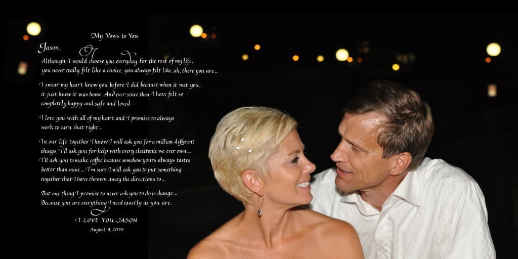 Husband's vows for wife with wedding photo