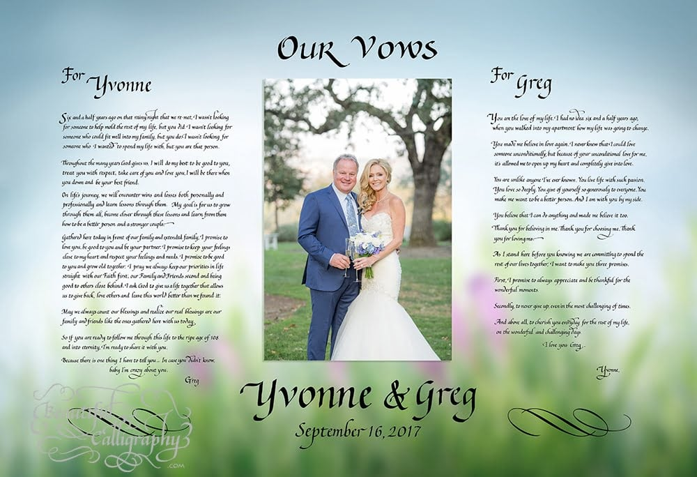 calligraphy wedding vows for husband & wife wiith their wedding photo