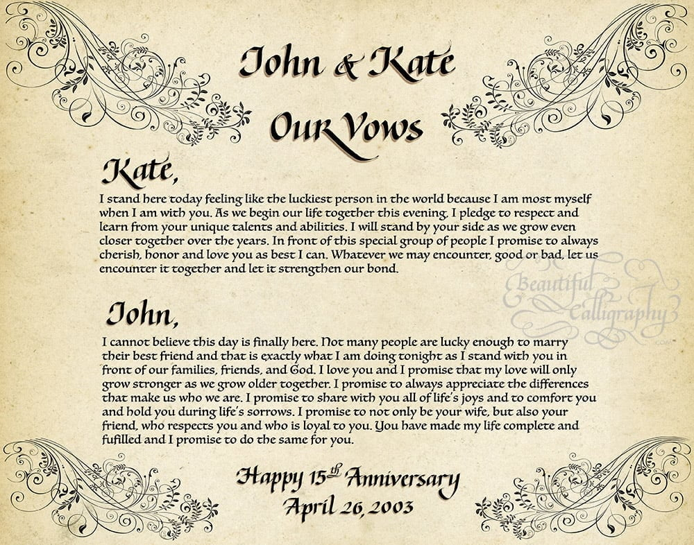 His and Her vows combining calligraphy and computer font on parchment with scroll design