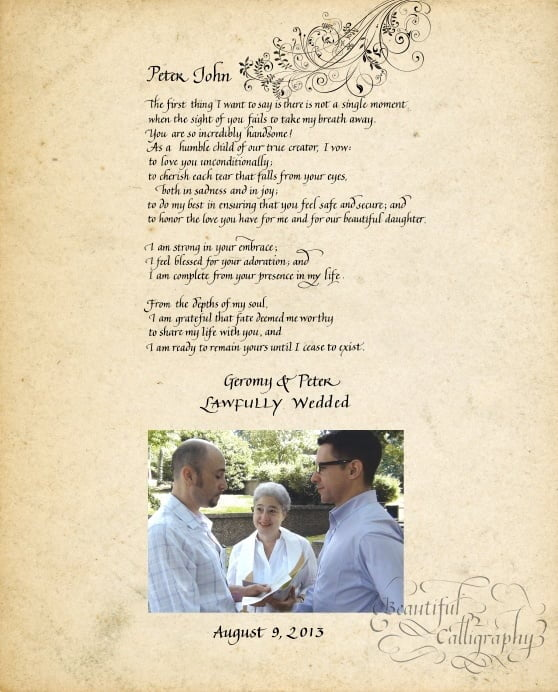 Marriage vows of gay male couple in calligraphy with wedding photo