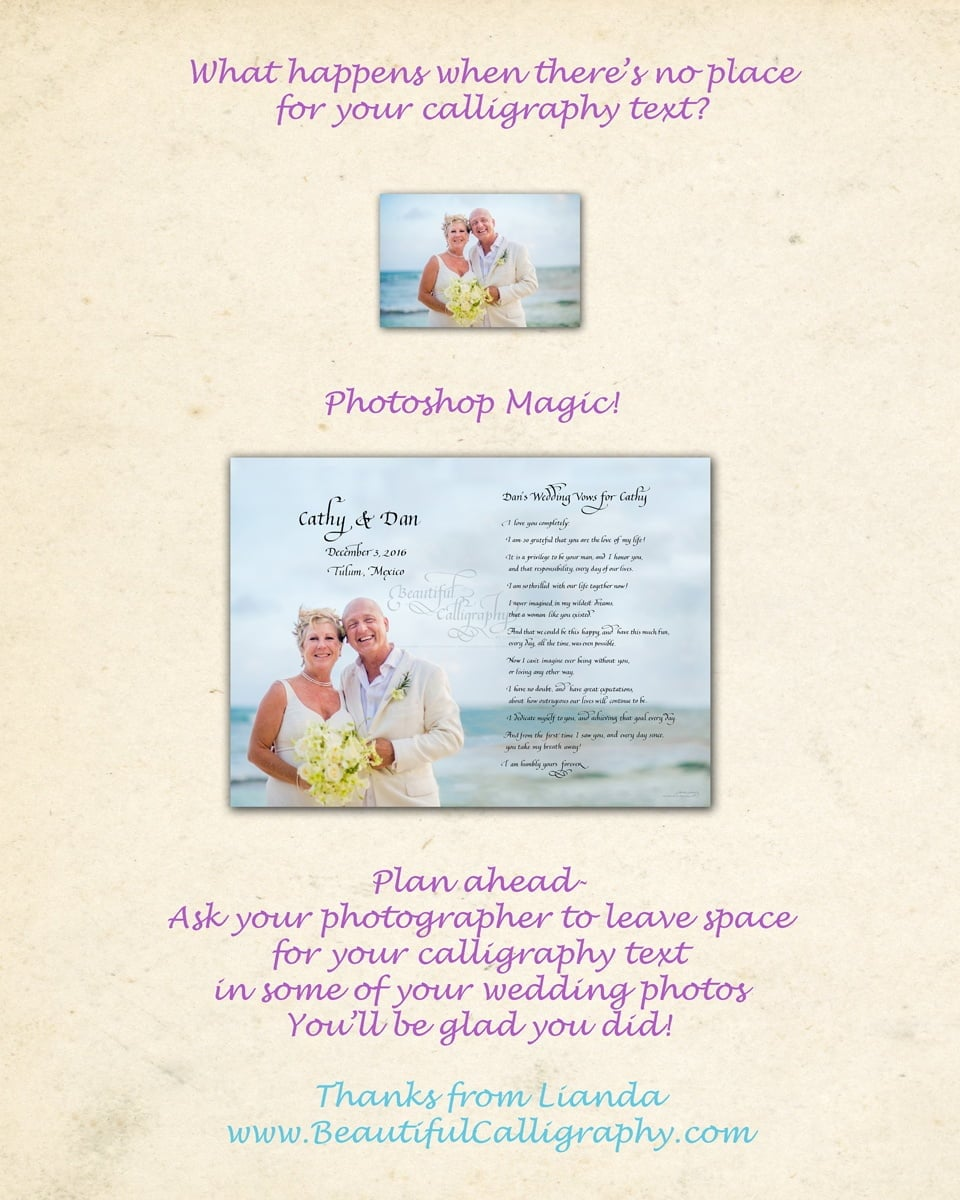 In order to write calligraphy marriage vows, photoshop magic extended the background of the ocean.