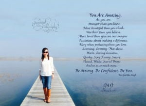 Personal poem written in caligraphy ordered online