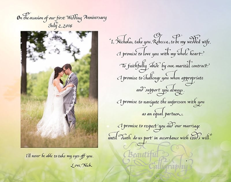 Marriage vows of husband for first anniversary gift for his wife written in calligraphy with wedding photo