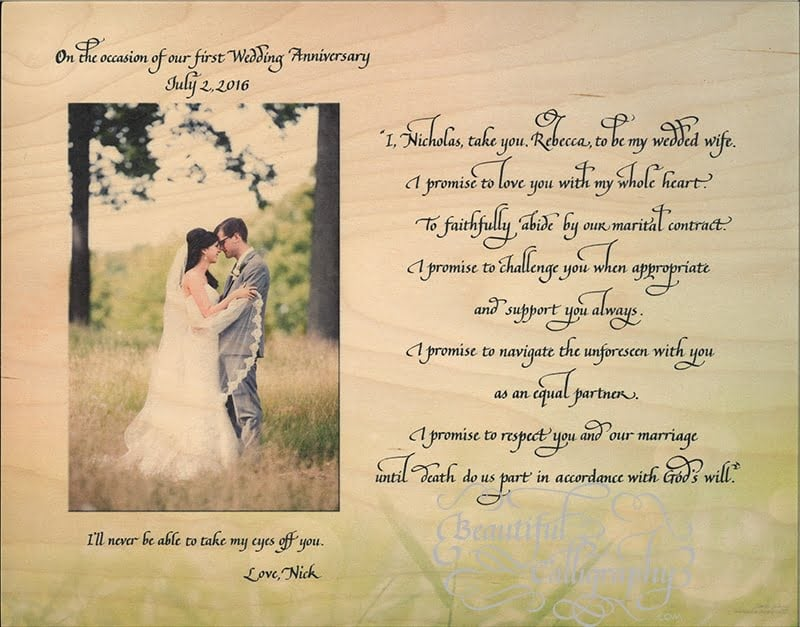 Marriage vows of husband for first anniversary gift for his wife written in calligraphy with wedding photo printed on wood