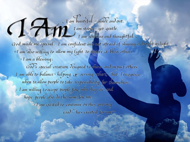 """I AM"" spiritual poem in calligraphy"