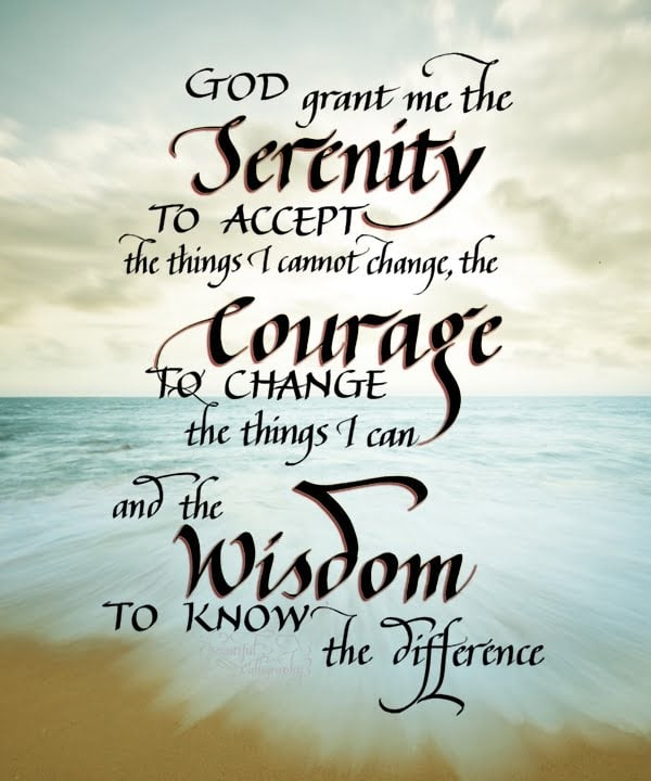 Serenity Prayer quote in calligraphy with beach background