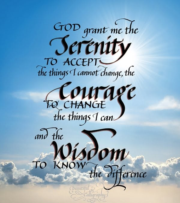 Serenity Prayer in calligraphy above the clouds