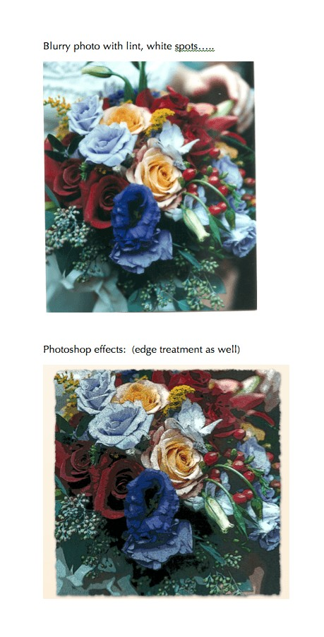 wedding bouquet made to look like a painting with photoshop to use with calligraphy wedding vows.