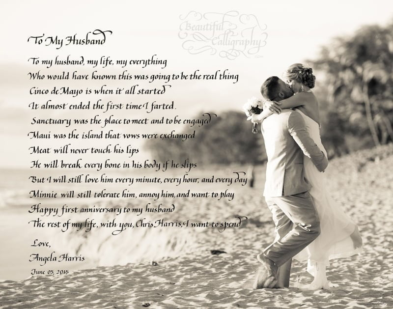 Calligraphy of First anniversary poem written in by wife for her husband using their wedding photo