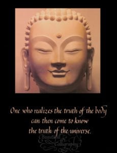 Buddha sculpture with quote