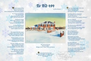 Christmas Family Poem by the father of the house in calligraphy with watercolor picture of their old home