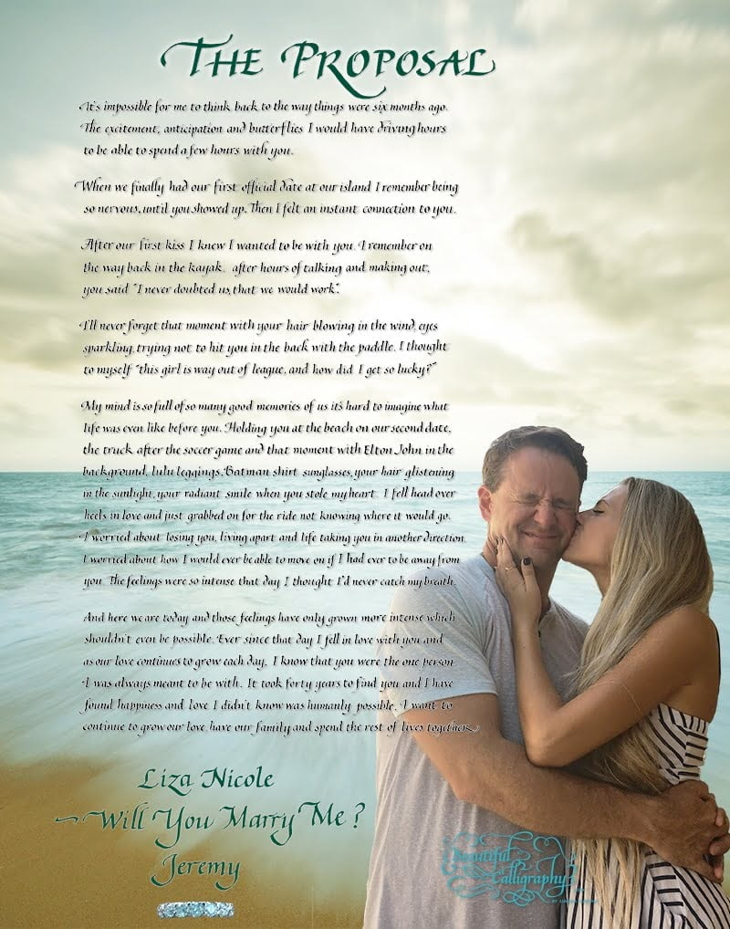 Calligraphy Marriage proposal with photo of couple and happy memories - and the ask to marry
