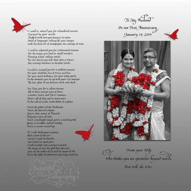 Indian Couple's anniversary poem in b/w with red butterflies