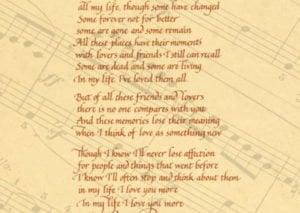 Beates lyrics- In my life written in calligraphy