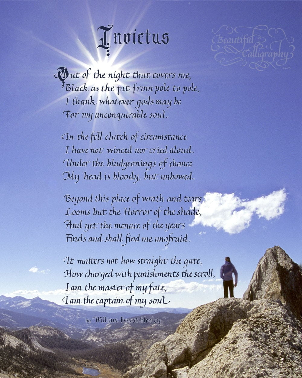 Invictus, Famous Poem honoring soldiers written in calligraphy on mountaintop background
