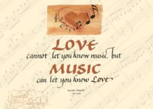 love of music quote in calligraphy