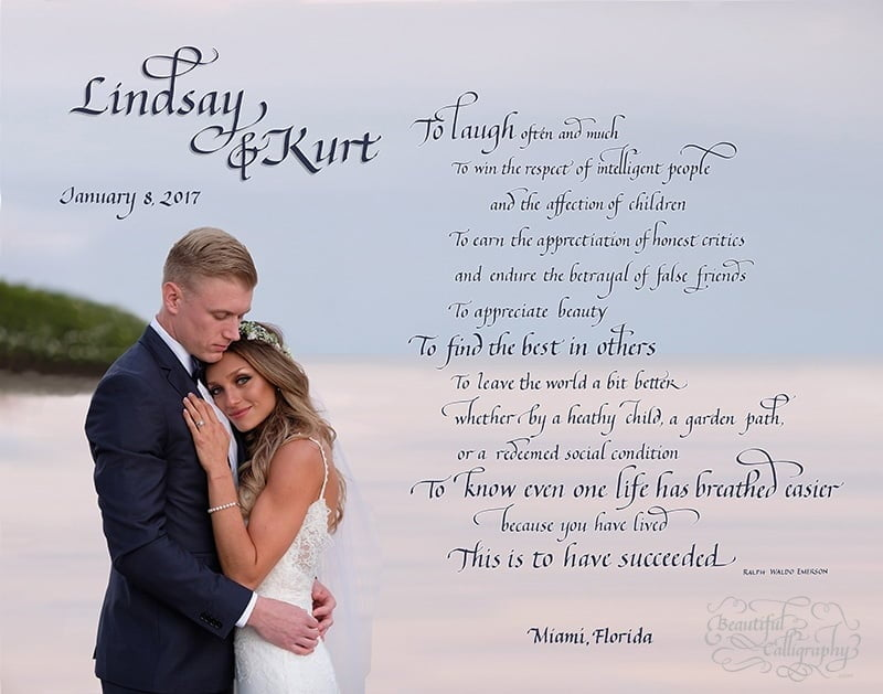 Wedding gift in calligraphy of a special poem with couple's wedding photo