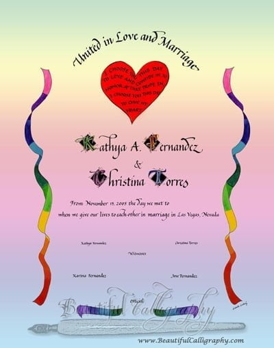 gay wedding certificate
