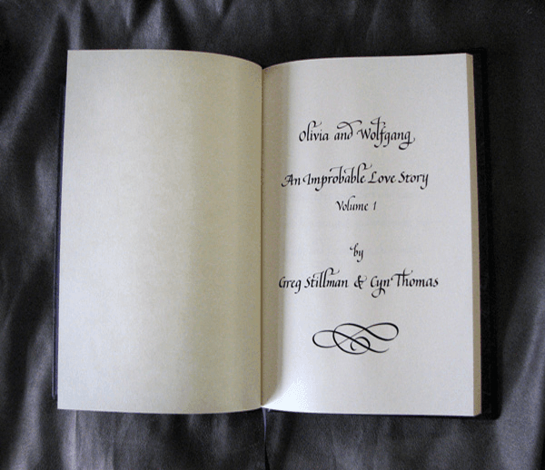 opening page of bound book written in calligraphy