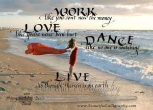 work, love, dance, famous poem by Rumi in calligraphy
