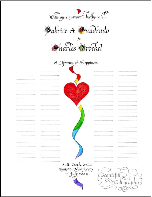 gay wedding certificate to be signed