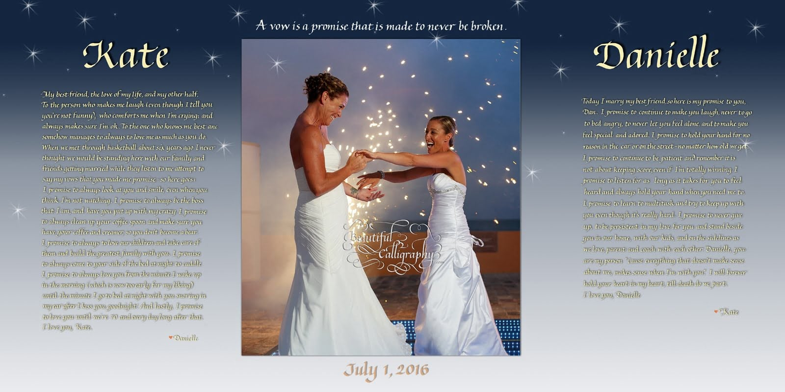 calligraphed Lesbian/Gay marriage vows with happy photo of two brides