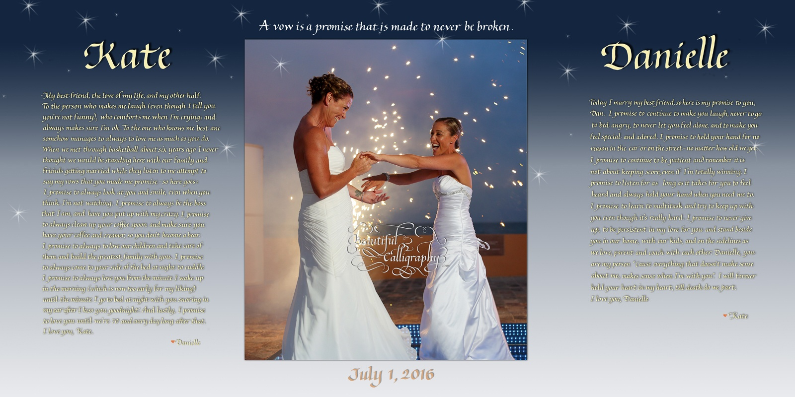 Lesbian/Gay marriage vows with happy photo of two brides