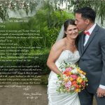 Husbands marriage vows written in calligraphy superimposed on a wedding photo for first anniversary gift