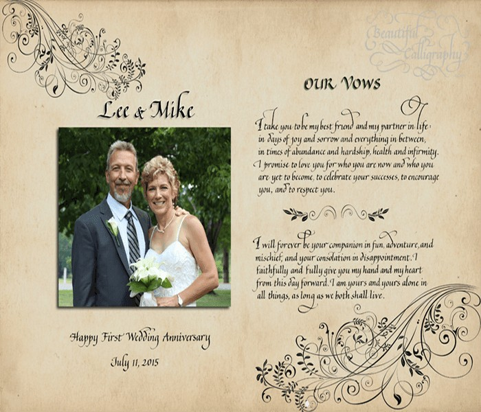 Husband and Wife wedding vows with their photo on parchment background