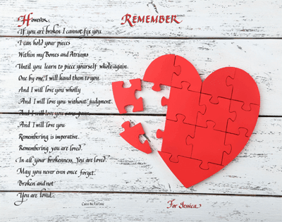 Love poem for valentine's day gift superimposed on a heart puzzle