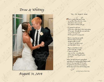 Lyrics to first dance wedding song in calligraphy with couple's photograph