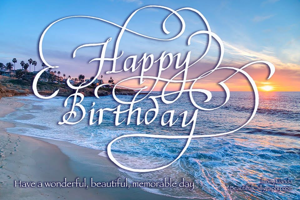 Happy Birthday Calligraphy with background of a beautiful beach