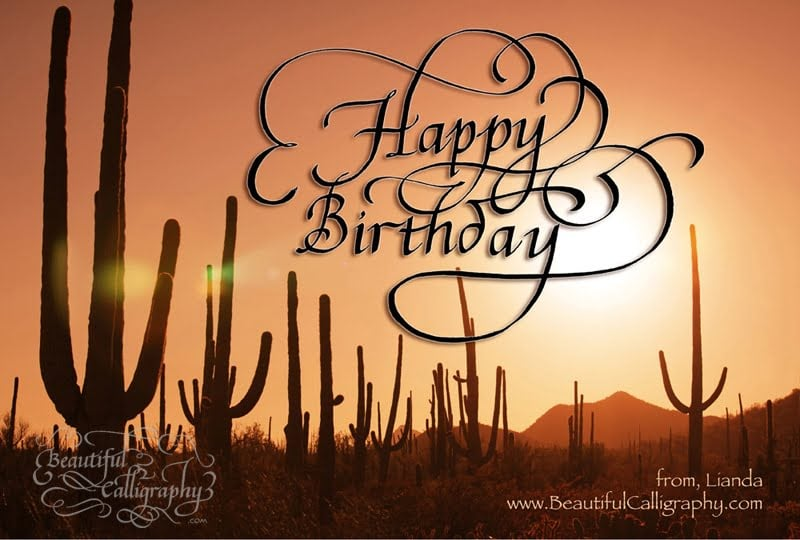 Happy Birthday Calligraphy with background of the desert