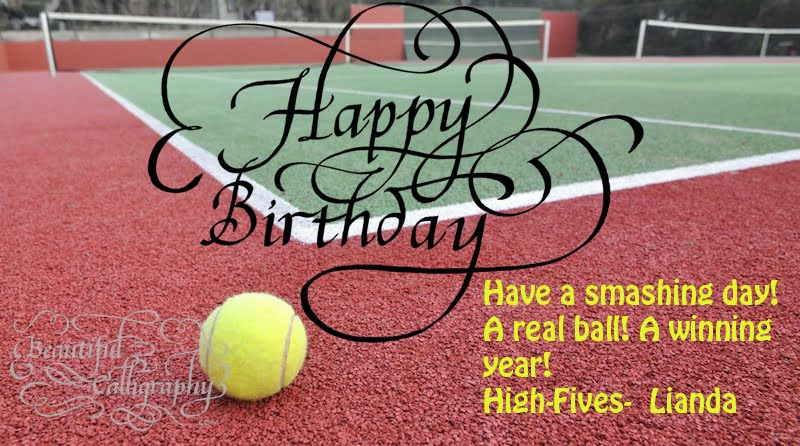 Happy Birthday Calligraphy with background for a tennis lover