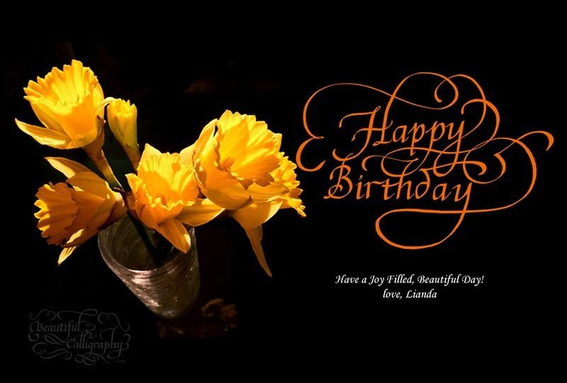 Happy Birthday Calligraphy with background of daffodils