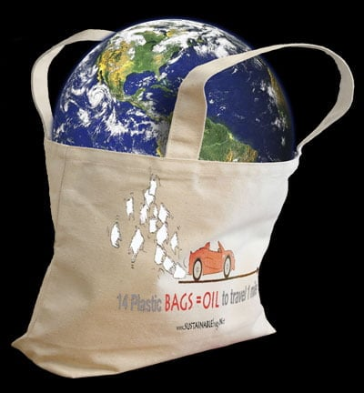 Calligraphy design on organic bag with image of the earth being saved in the bag