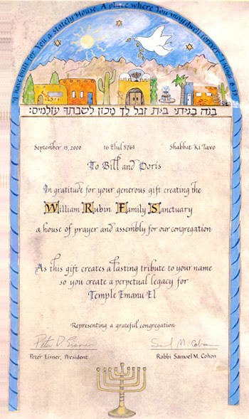 decorated certificate for donor written on real parchment