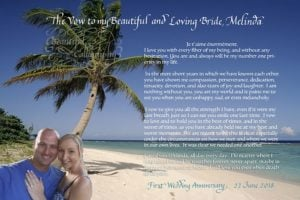 First anniversary love letter with selfie of the couple superimposed on photo background from Hawaii less expensive option computer font with calligraphy