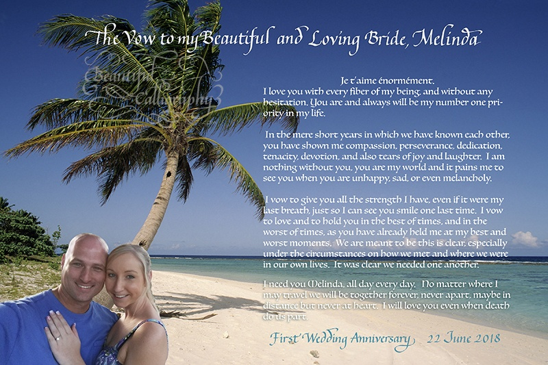 First anniversary love letter with selfie of the couple superimposed on photo background from Hawaii