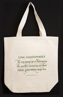 LIVE Sustainably definition written in calligraphy and imprinted on an organic shopping bag