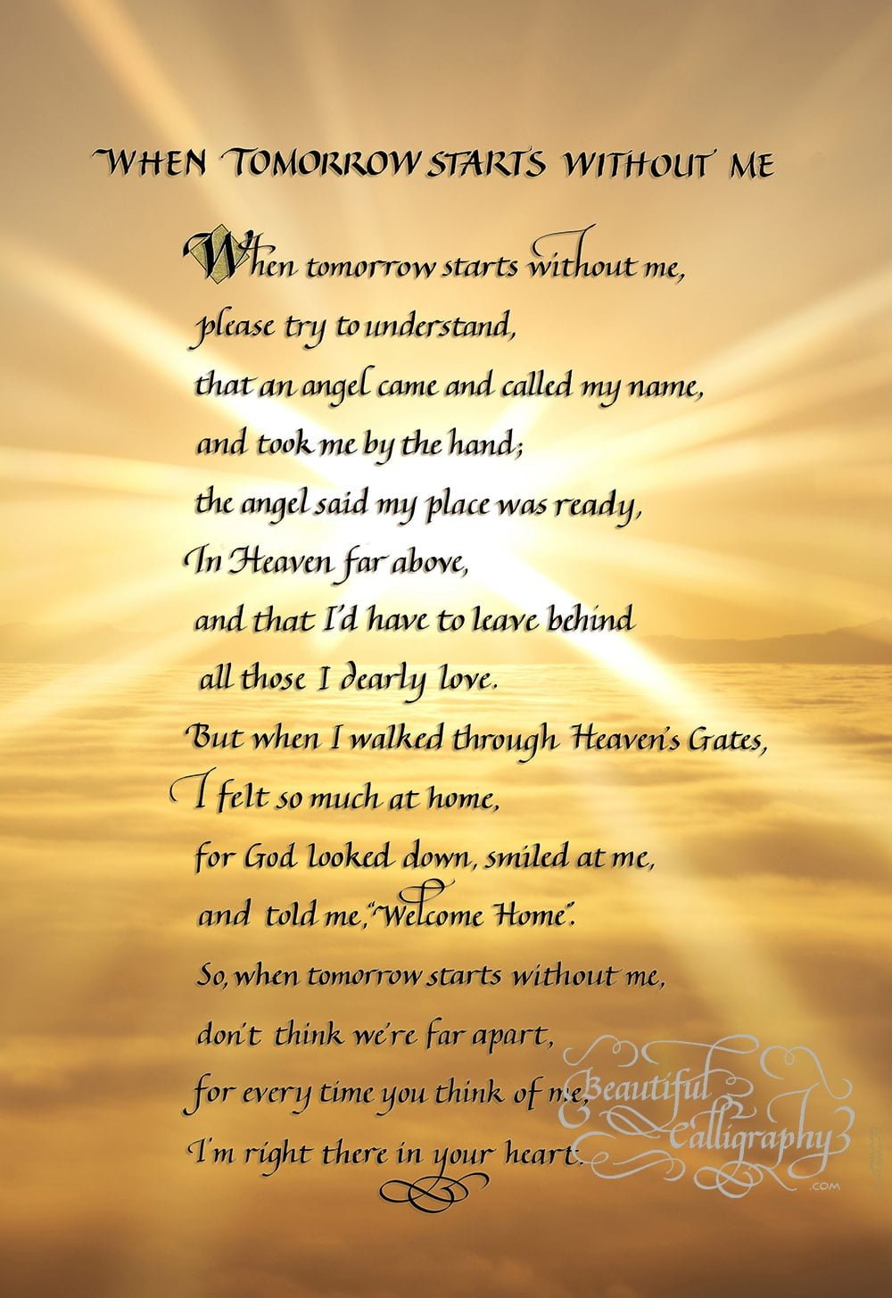 Memorial Poem- When Tomorrow Comes Without Me written in calligraphy on golden sky background
