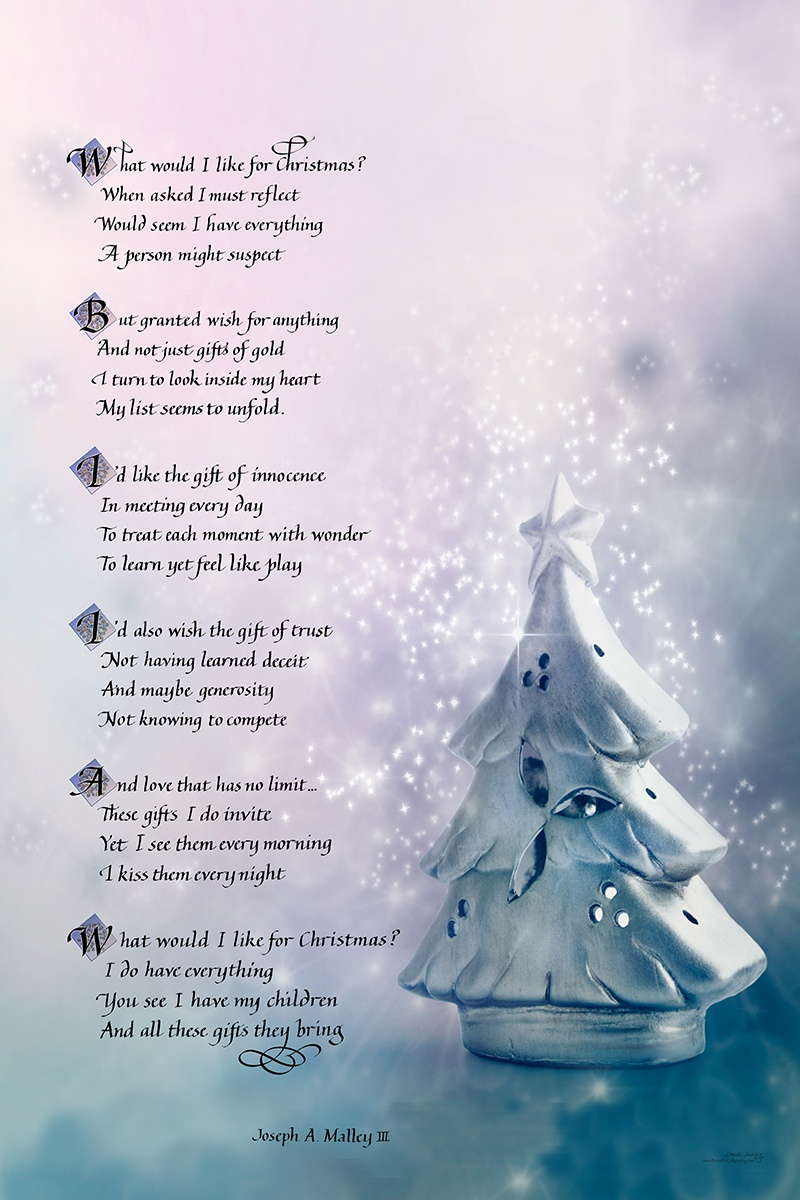 Christmas-Poem in calligraphy with snowflake leading letters