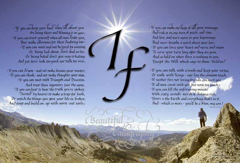 If, the famous poem by Rudyard Kipling, written in calligraphy, superimposed on a background of a person reaching the mountaintop.