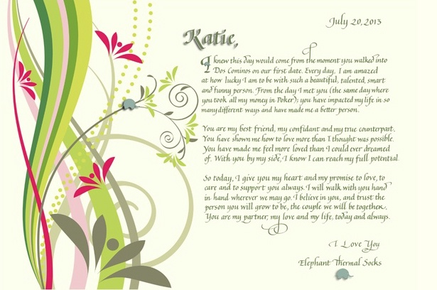 Rush Personalized Anniversary gift of calligraphy love letter