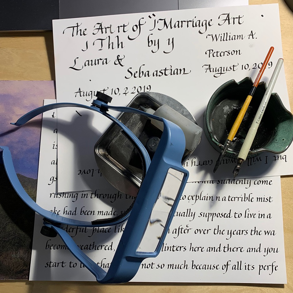 handwritten calligraphy and tools